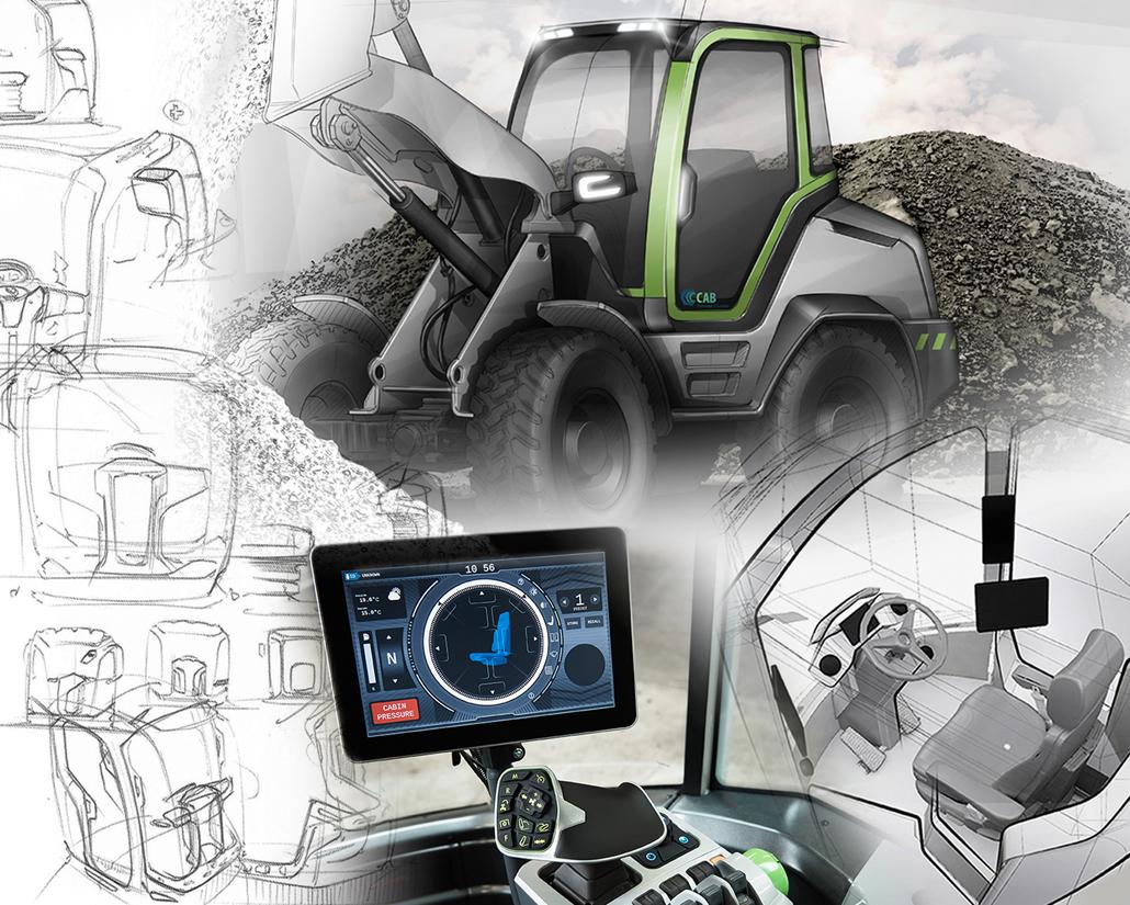 Maschinenführer-Kabine, Collage Technisches Design Die Collage zeigt ...