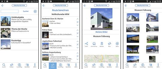 baukunst-App: Die Inhalte von baukunst-nrw.de können auch über die eigenständige und kostenlose App (für iOs und Android) komfortabel über mobile Endgeräte abgerufen werden, Bild: AKNW