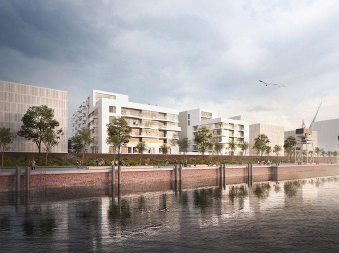 """""""Siegerentwurf des Architekturwettbewerbs für das Projekt Baufeld 97 im Quartier Baakenhafen. Bild: bloomimages, Hamburg für Jens Bothe Architects aus Hamburg"""""""
