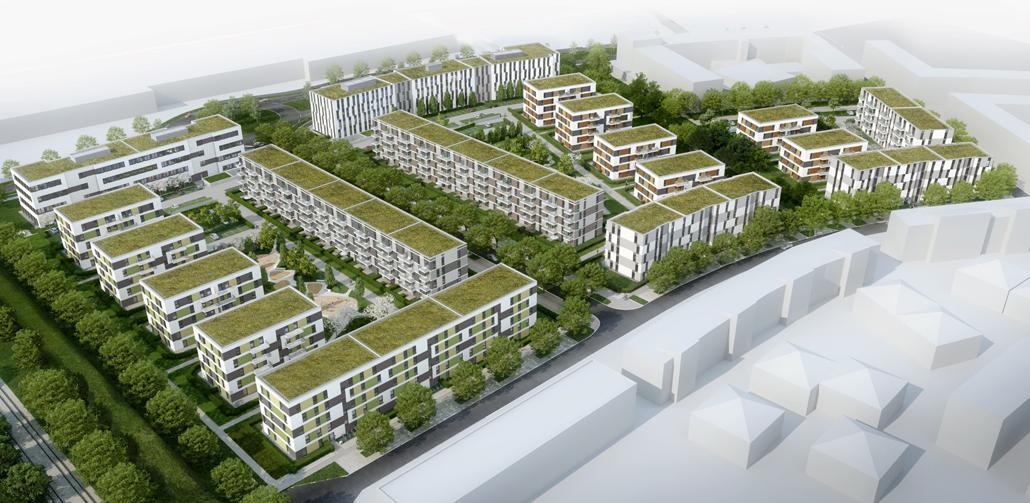 """Bis Ende 2021 errichtet die STRABAG-Tochter ZÜBLIN 18 Gebäude im Rahmen des Projekts die """"Sonnenhöfe im Sternenviertel"""". (c) Sonnenhöfe GmbH & Co. KG"""