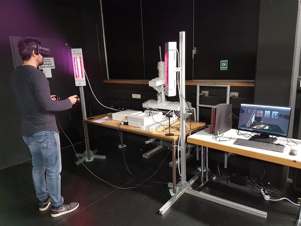 Demonstrator zum Erleben virtuell und real vermittelter Wirkungen von Produkten über eine neuartige Kopplung von Simulation und Bausystemen. © Fraunhofer IBP