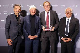 Martin Haas (DGNB Vizepräsident), Christoph Ingenhoven (ingenhoven architects), Martin Haag (Baubürgermeister, Stadt Freiburg), Prof. Alexander Rudolphi (DGNB Präsident) (c) DGNB