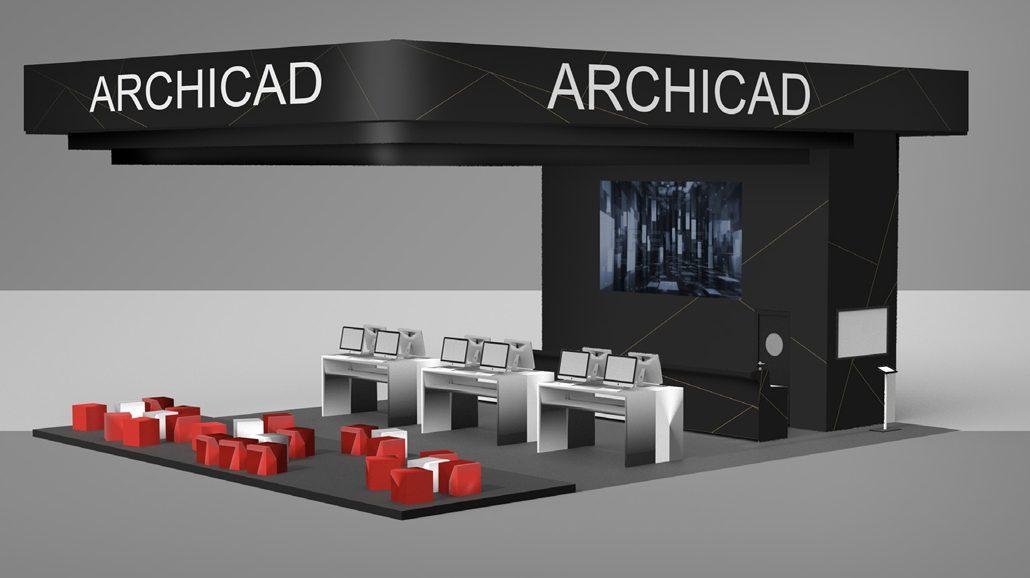 Der GRAPHISOFT-Messestand in der Halle C5 (C5/421) bietet einen umfassenden Überblick über die Planungswelt mit ARCHICAD. Auf über 120 m2 lassen sich BIM und digitale Planung in der Praxis erleben. (c) GRAPHISOFT, München