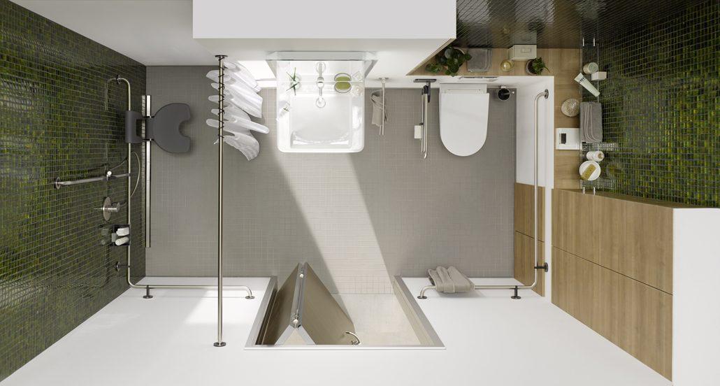 Anwendungsbeispiel - die Küffner Raumspartür in einem barrierereduzierten Badezimmer. (c) Küffner