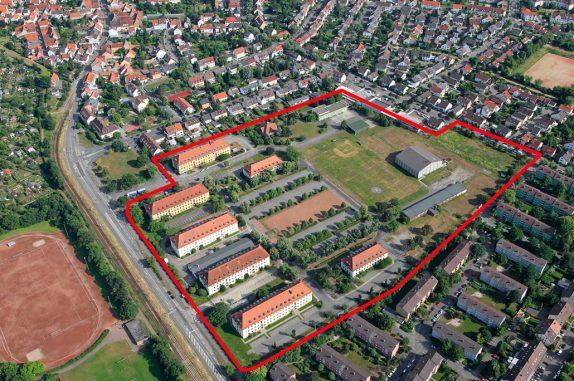 Überblick über die Konversionsfläche Hammonds Barracks in Mannheim (mit Umrahmung der Liegenschaftsgrenzen). (c) Kay Sommer, Mannheim