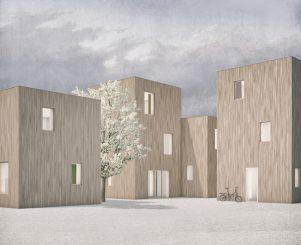 """Das Einfamilienhaus """"Woodiy"""" kann mit dem Bausystem SimpliciDIY größtenteils in Eigenleistung gebaut werden. (c) Atelier SLOW"""