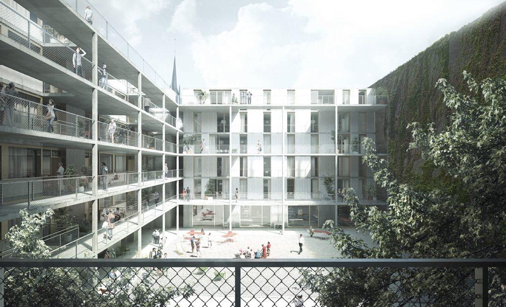 Das neue Wohnensemble der STADT UND LAND in der Briesestraße. Bildrechte: EM2N