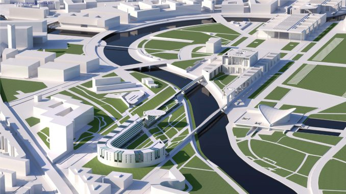 Ein bogenförmiger Erweiterungsbau am Rand des Kanzlerparks wird das so genannte Band des Bundes nach Westen hin städtebaulich abschließen. (c) Schultes Frank Architekten