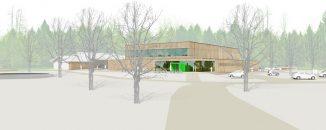 Gegenüber dem Mooswaldstadion baut i+R eine Zweifeld-Sporthalle im Holzbau. (c) d'aloisio