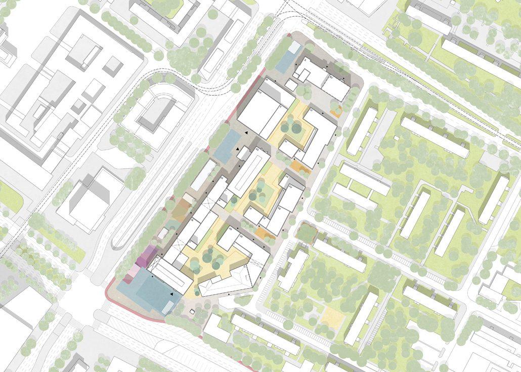 Das bestehende Haus der Statistik wird zum Ausgangspunkt für die Entwicklung eines urbanen Stadtbausteins mit einer besonderen programmatischen Vielfalt. Der Kiez der Statistik steht für ein lebendiges Neben- und Miteinander von Wohnungen sowie gewerblichen, kulturellen und soziale Nutzungen. Der städtebauliche Entwurf bietet eine robuste Basis für einen kooperativen, gemeinwohlorientierten Prozess der Raumproduktion im Herzen Berlins. © Teleinternetcafe und Treibhaus