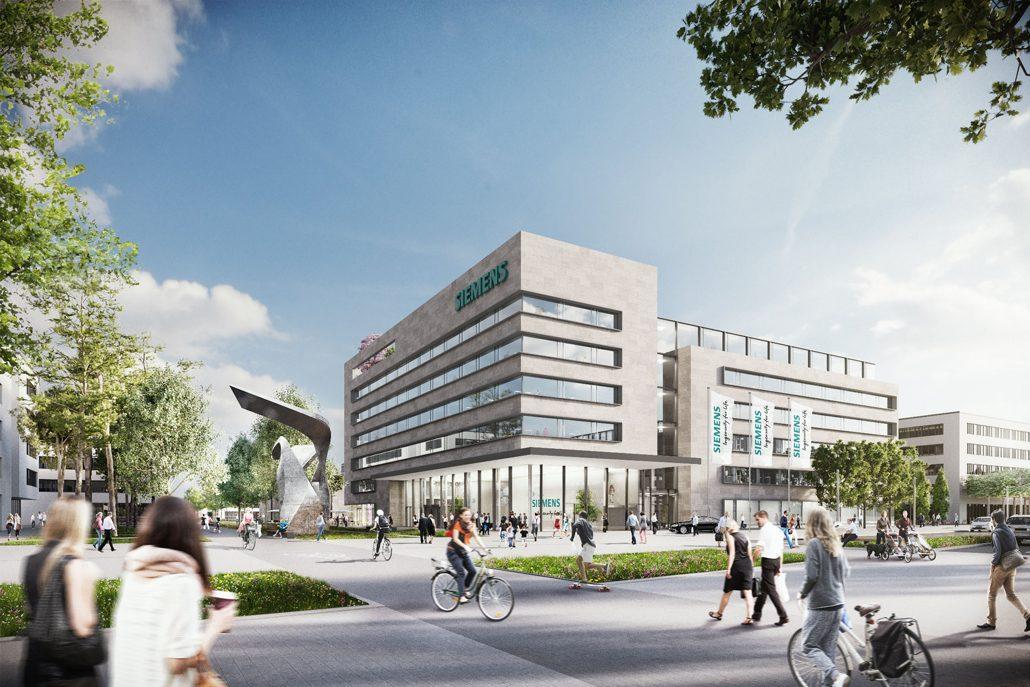 Das neue Empfangsgebäude als zentraler architektonischer Mittelpunkt im Siemens Campus Erlangen nimmt die Struktur der umliegenden Modul-Gebäude auf, verdeutlicht zugleich mit seinem über zwei Stockwerke verglasten Eingangs- und Empfangsbereich das Alleinstellungsmerkmal auf dem Areal. (c) Siemens AG