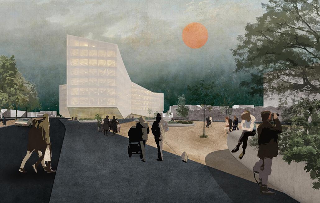 Außenperspektive des Entwurfes von David Kerrom und Luca Mathias Hupfer. (c) Kerrom, Hupfer/HTWK Leipzig
