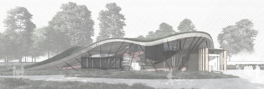 """""""NaturErleben – Haus für Erlebnispädagogik am Eiskanal, Augsburg"""", Abbildung aus der Bachelorarbeit von Pascal Jason Hartlage."""