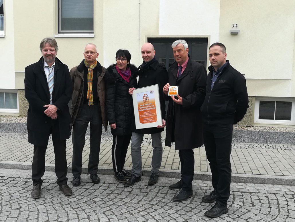 Gruppenfoto (v.l.n.r.): Lutz Kriebel (MIL), Dr. Wolfgang Schönfelder (BBU), Kathrin Mölneck (BBU), Martin Ehring (Geschäftsführer IGB), Thomas Richter (Bürgermeister), Matthias Heyde (IBG-Projektkoordinator). (c) IGB Bad Liebenwerda