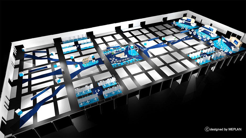 Innovative Hallenplanung erinnert an eine digitale Datenbahn. (Copyright: Meplan)